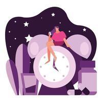 Mujer sentada en el despertador que sufre de carácter insomnio vector