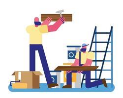 constructors workers team remodeling hammering wooden boards vector