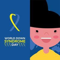 world down sindrome day campaign poster with ribbon and little boy vector