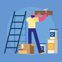 male constructor worker remodeling hammering wooden board vector