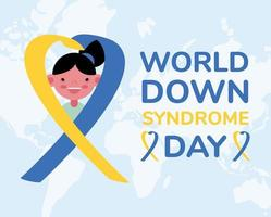 world down sindrome day campaign poster with little girl in ribbon vector