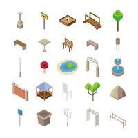 bundle of twenty five park Isometric style icons vector