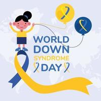 world down sindrome day campaign poster with little girl and balloons helium in ribbon vector