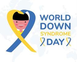 world down sindrome day campaign poster with little boy and ribbon vector