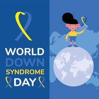 world down sindrome day campaign poster with little boy and ribbon in earth planet vector