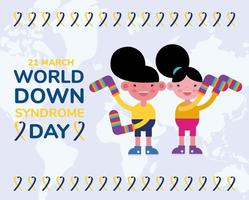 world down sindrome day campaign poster with kids and colors socks vector