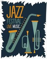 jazz festival poster with saxophone and trumpets vector