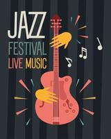 jazz festival poster with hands playing guitar vector