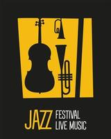 jazz festival poster with instruments silhouettes and lettering vector