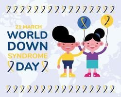 world down sindrome day campaign poster with kids and balloons helium vector