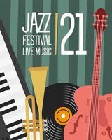 cartel del festival de jazz con guitarra e instrumentos. vector