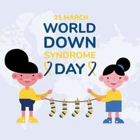 world down sindrome day campaign poster with kids and colors socks hanging vector