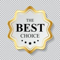 Gold Label The Best Choice Template. Vector Illustration