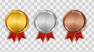 Gold, silver and bronze medal. Badge of the icon First, second and third place. Vector Illustration
