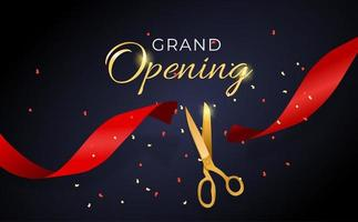 Grand Opening Card with Ribbon and Scissors Background. Vector Illustration