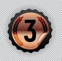 Bronze medal, third place icon. Vector Illustration