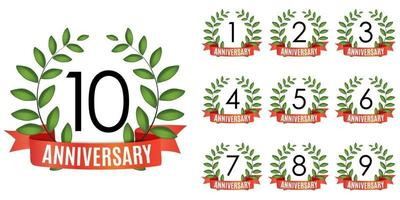 Collection of  Years Anniversary Template with Red Ribbon and Laurel wreath Vector Illustration