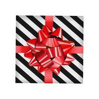 Caja de regalo con lazo rojo y cinta ilustración vectorial vector