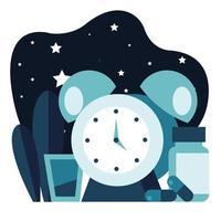 Despertador con medicamentos para el imsomnio por la noche. vector