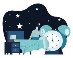 El hombre en el dormitorio con la escena nocturna del despertador que sufre de insomnio vector