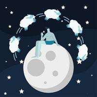 man seated in moon counting sheeps suffering from insomnia character vector