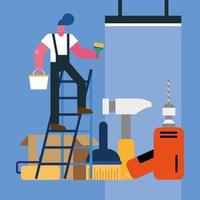 male constructor worker remodeling in stair with tools vector