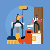 constructors workers team remodeling with equipment scene vector