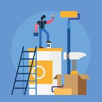 male constructor worker remodeling with paint equipment vector