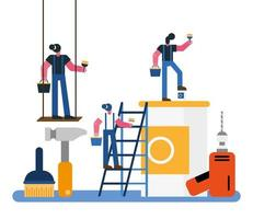 constructors workers team remodeling with painting equipment vector