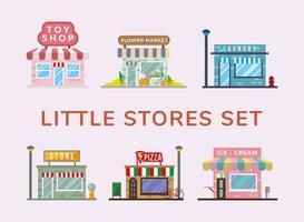 group of little stores facades vector
