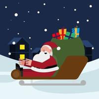santa claus with gifts bag in sled christmas character vector