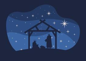 happy merry christmas card with holy family in stable silhouette scene vector