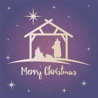 happy merry christmas lettering with holy family in stable silhouette vector