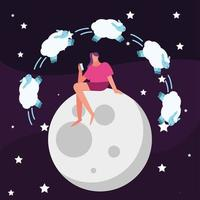 woman seated in moon counting sheeps suffering from insomnia character vector