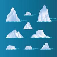 icebergs blancos set diseño vectorial vector