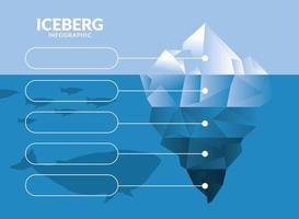 iceberg infographic with whale and penguins vector design