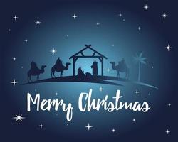 happy merry christmas lettering with holy family in stable and kings silhouette vector