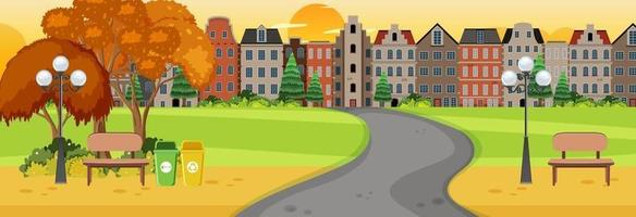 Horizontal scene at sunset time with long road through the park into the town vector