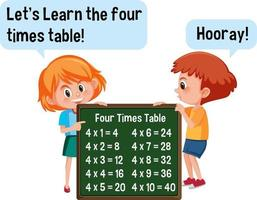 Cartoon character of two kids holding four times table banner vector