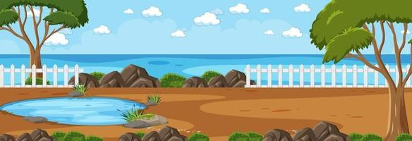Panorama landscape scene with river flowing through in the park vector