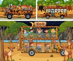 Different safari scenes with animals and kids cartoon character vector