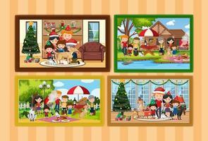 Conjunto de diferentes marcos de fotos familiares colgados en la pared. vector