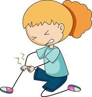 Doodle personaje de dibujos animados de una niña sosteniendo la rodilla de la pierna herida dolorosa vector
