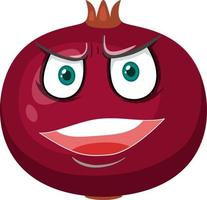 Pomegranate cartoon character with angry face expression on white background vector