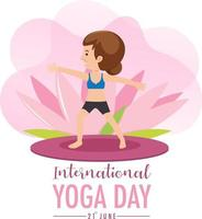 International Yoga Day banner with old woman doing yoga exercise vector