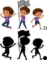 Set of a boy cartoon character in different positions with its silhouette vector