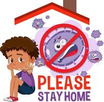 Please Stay Home banner with children and no virus sign vector