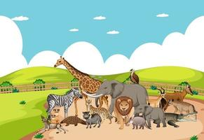Group of wild african animal in the zoo scene vector