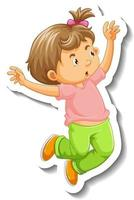 Sticker template with a little girl jumping cartoon character isolated vector