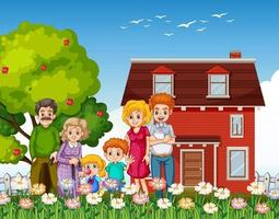Happy family standing outside home in the garden vector